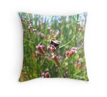 Bumblebee on purple flowers Throw Pillow