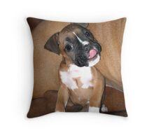 Boxer puppy saying hi Throw Pillow