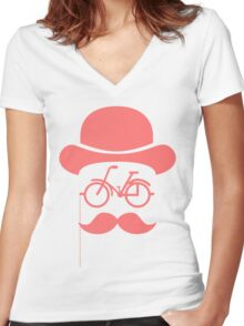 Retro cylinder bicycle Women's Fitted V-Neck T-Shirt