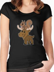 Moose, squirrel and cupcake Women's Fitted Scoop T-Shirt
