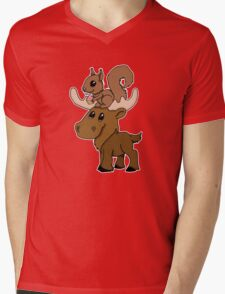 Moose, squirrel and cupcake Mens V-Neck T-Shirt