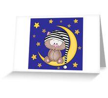 Cat moon dream Greeting Card