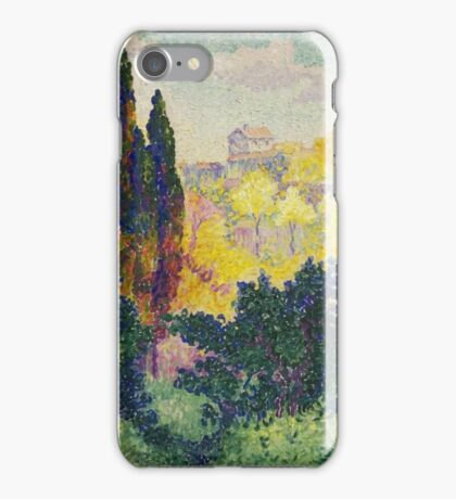Les cyprès à Cagnes, or Cypresses at Cagnes, 1908, by Henri-Edmond Cross iPhone Case/Skin