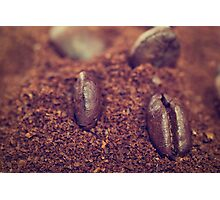 Coffee beans in the heat of the grounded coffee Photographic Print