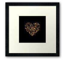 Lace Golden Heart (on black) Framed Print