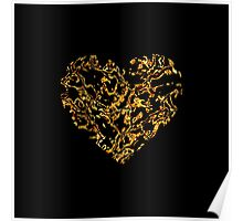Lace Golden Heart (on black) Poster