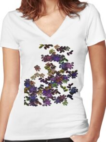 Florals Women's Fitted V-Neck T-Shirt