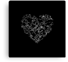 Lace Silver Heart (on black) Canvas Print