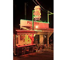 Pizzeria at Night in Grand Case, Saint Martin Photographic Print