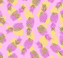 Neon Yellow and Pink Tropical Hawaiian Pineapples by ChicPink