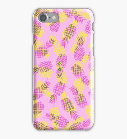 Neon Yellow and Pink Tropical Hawaiian Pineapples iPhone Case/Skin