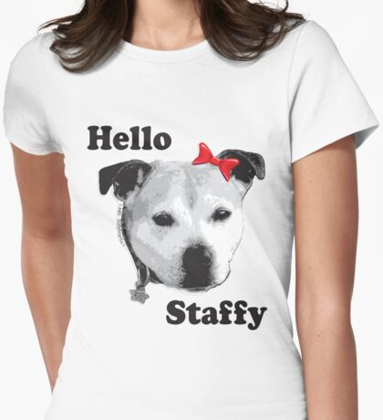 Hello Staffy Womens Fitted T-Shirt