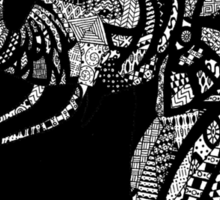 African Elephant in Traditional African Patterns (black) Sticker