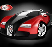 Black and Red Bugatti Veyron by Anthony Thomas