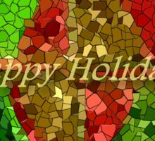 Stained Glass Holiday Greeting Panel Sticker