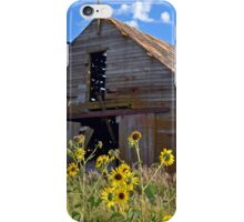 Abandoned Barn with Sunflowers  iPhone Case/Skin