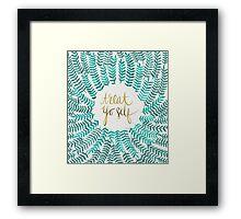 Treat Yo Self – Turquoise Framed Print