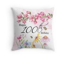 100th Birthday Throw Pillow Watercolor Garden Flowers Throw Pillow