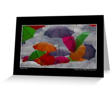 Cloudy with a Chance of Umbrellas Poster Greeting Card