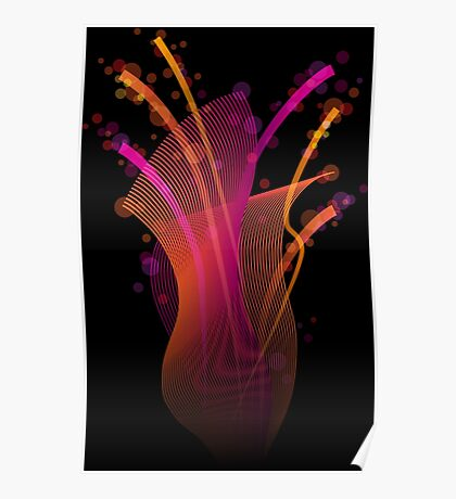 Abstract dynamic bright color stripes and shapes Poster
