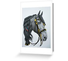 """The King's Horse"" - Friesian Portrait Greeting Card"