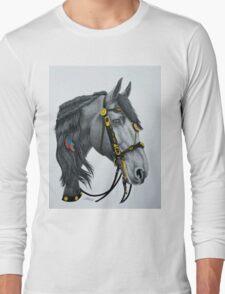 """The King's Horse"" - Friesian Portrait Long Sleeve T-Shirt"