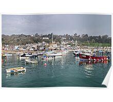 Misty Lyme Regis Harbour Poster