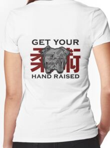"""Get Your Hand Raised"" - Jiu Jitsu Bulldog (on white) Women's Fitted V-Neck T-Shirt"
