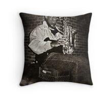 Sax Man Throw Pillow