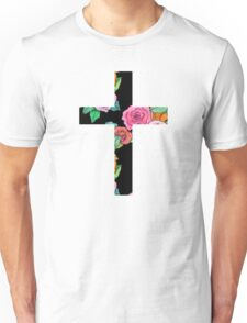 Christian Cross with roses Unisex T-Shirt