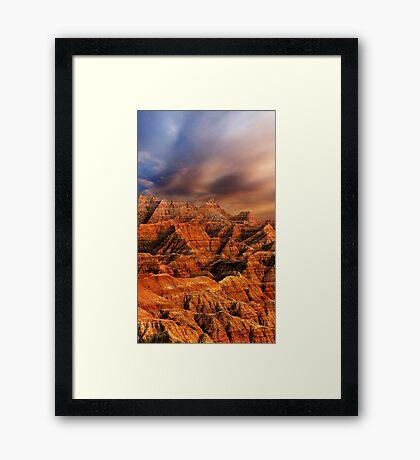 Sunset over Badlands National Park .6 Framed Print