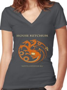 House Ketchum - Gotta Catchem' All Pokemon Game of Thrones Crossover Women's Fitted V-Neck T-Shirt