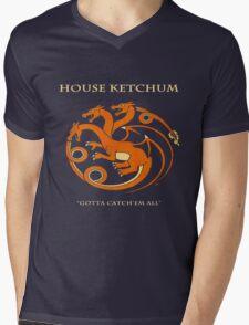 House Ketchum - Gotta Catchem' All Pokemon Game of Thrones Crossover Mens V-Neck T-Shirt