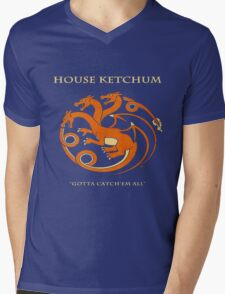 House Ketchum - Gotta Catchem' All Pokemon Game of Thrones Crossover Mens V-Neck T-Shirt