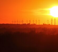 Windmills and Sunset by Gary Horner