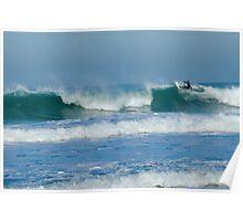 Surfing Porthtowan Cornwall UK Poster