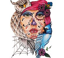 Girl with Owl  by theblankkcanvas