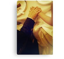 Bride and groom holding hands in wedding marriage banquet analog 35mm film photo Canvas Print