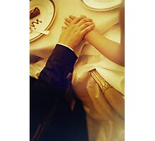 Bride and groom holding hands in wedding marriage banquet analog 35mm film photo Photographic Print