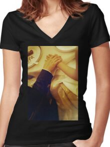 Bride and groom holding hands in wedding marriage banquet analog 35mm film photo Women's Fitted V-Neck T-Shirt