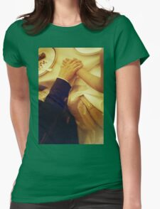 Bride and groom holding hands in wedding marriage banquet analog 35mm film photo Womens Fitted T-Shirt