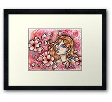 Mono no Aware - Girl with Cherry Blossoms Framed Print