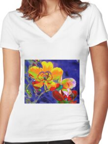 Butterfly Garden Women's Fitted V-Neck T-Shirt