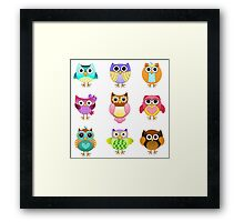 Set of Cute Owls Framed Print