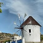 Windmill on Santorini, Greece by Teresa Zieba