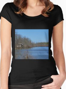 Mississippi River stilt house ghost town Women's Fitted Scoop T-Shirt