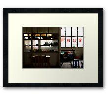 Bus station restaurant Framed Print