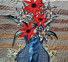Silk Vase with Red and Zebra Flowers by evamay