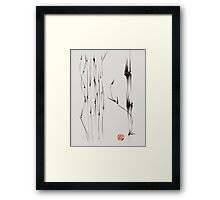 'the quiet forest' - ink brush pen bamboo drawing/painting Framed Print