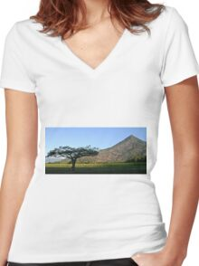 Rural landscape Women's Fitted V-Neck T-Shirt